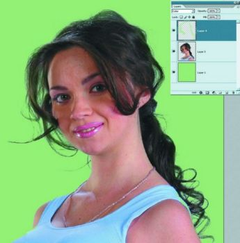 5.Замена фона и подгонка рефлексов на волосах под новый фон